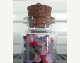 50% OFF - 1 Glass Bottle Pendant with Sweeties inside