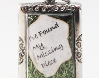 I've Found My Missing Piece, Shel Silverstein Quote, Engagement Locket, Golden Jigsaw Puzzle Piece Locket, Moss Terrarium Pendant LK12