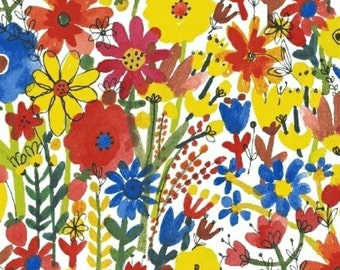SALE - Windham Fabrics - Flower Pedals Collection - Multi Floral in White Organic