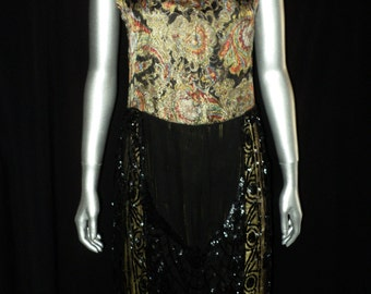 1920's Lame Pannier Dress Robe De Style Sequin Tulle Bottom with lame slip Paisley Pattern Wearable Historical High Fashion Art Deco