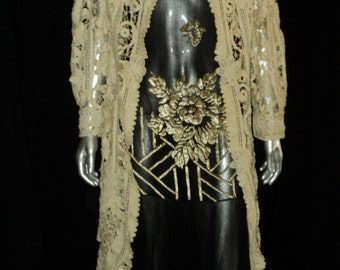 Edwardian 1910's Battenburg Lace Coat Tails Long Sleeve Wedding, Bridal, Cream, Downton Abbey, Collectible