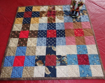 Hand quilted Table Topper - Primitive Country Colors SUMMER SALE