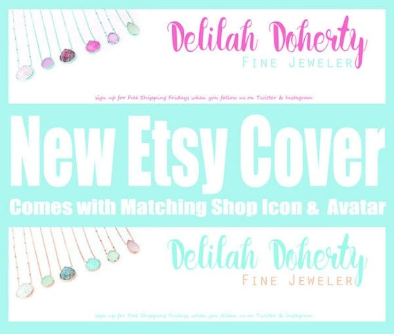 Etsy Shop Branding, Customized Shop Branding, Etsy Cover, New Shop Brand, Etsy Cover Photo, Etsy Banners, Soft and pretty Minty color