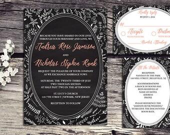 chalkboard wedding invitations, rustic wedding invitations, wedding invitations