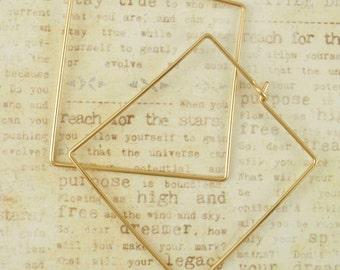 Square Hoop Earrings - 14kt Gold Filled or Sterling Silver - 30mm