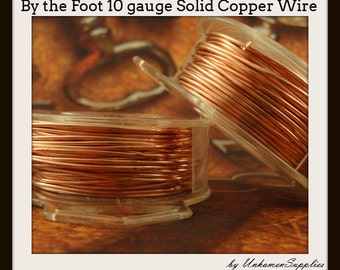 By the Foot 10 gauge Copper Wire - Solid Raw Metal - Dead Soft -  100% Guarantee