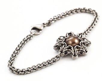 Celtic Eclipse and Jens Pind Bracelet - Swarovski Pearl and Stainless Steel