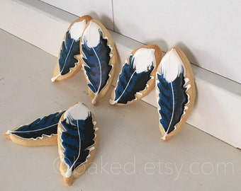 Blue Jay Feather Decorated Sugar Cookies - 1 dozen