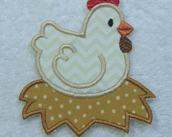 Chicken Patch Fabric Embroidered Iron On Applique Patch Ready to Ship