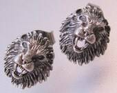 Lion Sterling Silver Stud Earrings Signed Petite Vintage Jewelry Jewellery