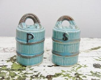 Vintage blue bucket salt and pepper shaker set