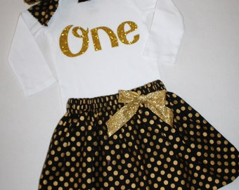 gold and black girls first birthday outfit, glitter 1st birthday outfit, cake smash outfit, glitter gold one first birthday bodysuit skirt