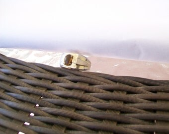 SALE - Midcentury Modern Men's Ring, Size 10, Tiger's Eye, faux diamond, 14K Gold Plated
