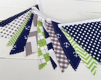 Banner, Anchor Bunting, Nautical Nursery Decor, Photography Prop, Fabric Flags - Anchors, Gray, Navy Blue, Lime Green, Grey, Chevron, Dots