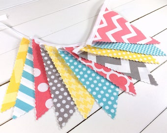 Banner Bunting, Photo Prop, Fabric Flags, Baby Shower, Nursery Decor - Coral Pink, Grey, Yellow, Aqua Blue, Pink, Gray, Chevron, Dots
