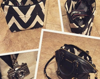 Camera bag by Darby Mack in Black Chevron a Foam padded insert for your purse,  backpack or diaper bag  Made in America