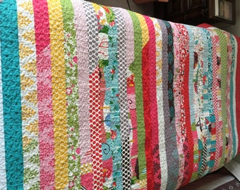 Jelly Roll Race Throw Size Quilt, Dorm Quilt, Twin Coverlet