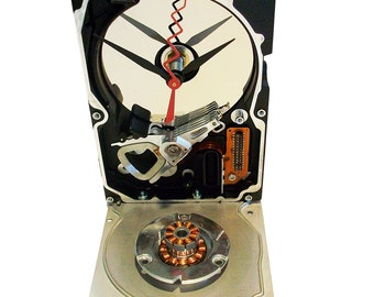 Hard Drive Clock Accented with 2 Copper Disk Spindles.  Got Conversation Piece? FREE SHIPPING USA!