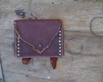 Red Earth Oiltan Pouch --  leather burning man wasteland weekend tribal steampunk huntress viking renaissance costume apocalyptic