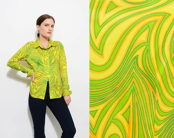 Vintage 90 does 70s Groovy PSYCHEDELIC Collared Button Up Blouse 1970s Disco Club Kid Fitted Shirt Yellow Green Medium Large M L