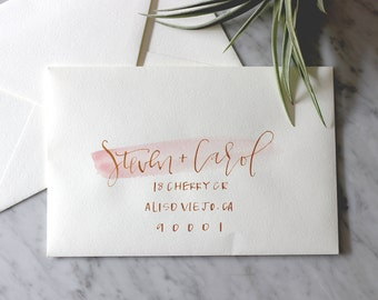 White Blush and Gold Ink Hand Lettering Envelope Calligraphy
