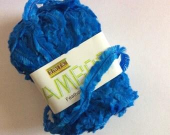 SWTC Bamboo Feather #235 Blue Short Eyelash Fringe Boa Yarn Eco-friendly and Super Soft 88% Bamboo 50 Gram 110 Yards