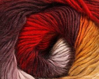 Primadonna Valentines Ice #40626 Fine Baby Weight Self-Striping Wool Acrylic Blend Yarn 100 gram 328 yards Red Burgundy Maroon Pink + Sport