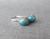Mottled Turquoise Dangle Earrings, Lampwork Glass Earrings, Blue Glass Earrings, Silver Blue Earrings, Sterling Silver Wire Earrings Blue