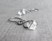 Clear Dangle Earrings, Infinity Earrings, Oxidized Sterling Dangles, Dark Silver Earrings, Clear Glass Earrings, Clear Lampwork Earrings