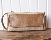 The Jade Pouch in Brown Faux Leather and Flax Essex Linen - toiletry or cosmetic bag