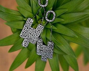 Sterling Silver Stepped Bar Dangle Earrings - Pitted Textured Earrings - Boho Tribal Silver Drop Earrings - For Her Under 100 - Chandelier
