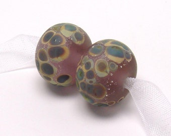 Lampwork beads, Raku on Amber Rose, pink glass bead, raku frit, amethyst lampwork, silver foil, silver foil, loose glass beads, earring pair