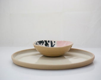 Ceramic Platter and dipping bowl , Chip & Dip Two piece serving platter and dip bowl