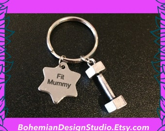 Gift for mum, Fit mummy keychain, dumbbell keyring, fitness keychain, star charm, fitness gift, gift for her, UK