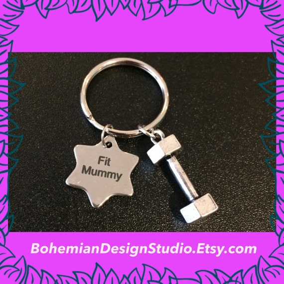 Gift For Mum Fit Mummy Keychain Dumbbell Keyring Fitness