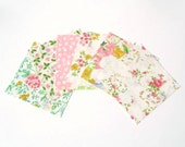 vintage sheets charm pack- 12 (6 x 6 inch) fabric squares in pinks