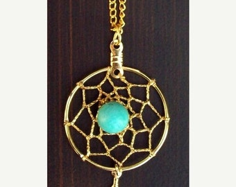 "ON SALE Dream catcher necklace in gold with turquoise and 1-inch dream web 18"" chain"