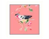 Sorbet Sky, bird art, colorful, nature decore, children, flowers, floral, tea garden, english