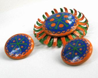 Enamel Brooch Earrings Set Orange Green Blue Flower Pin Vintage Costume Jewelry