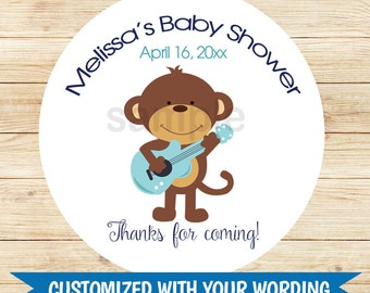 "Rockstar Monkey 2.5"" Round Favor Stickers 