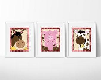 Farm Animals Pig, Cow, Horse Barnyard Nursery Art / Prints Only