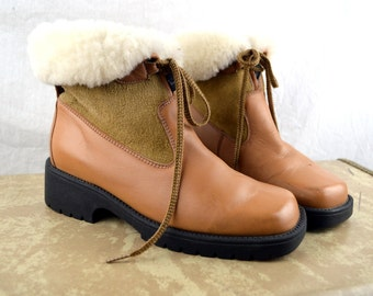Vintage WOW Suede Leather Shearling Winter Boots Shoes