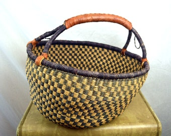 Vintage Woven Market Bag Basket Bolga Sisal African Handbag with Leather Handles