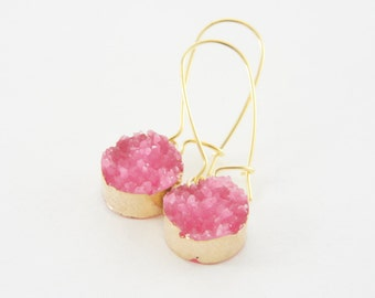 synthetic hot pink druzy light gold kidney wire earrings, trendy, party, light weight