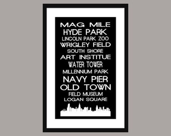 Chicago Subway Scroll - Bus Roll - Poster Print - Skyline - Vintage - Black