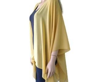 Corn husk-Soft mustard Boho Kimono/ Kimono cardigan-Solid mustard /corn yellowLagenlook chiffon kimono- Great for weddings and bridesmaids