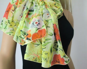 Green and yellow  Long tropical floral chiffon scarf -Parisian Neck Tissu