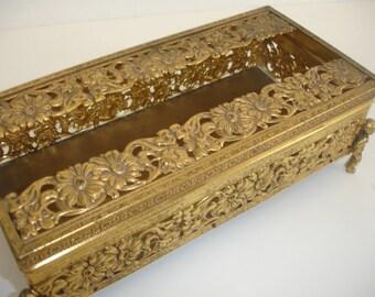 Tissue Box Holder Gold Filigree Vanity Boudoir Vintage Kleenex Tissue Holder Box