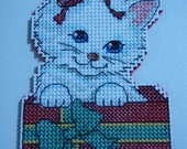 Cross Stitched MERRY CHRISTMAS KITTIE #5 Ornament