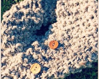 Hand Knit Designer Heritage Lamb's Wool Cowl Shawl
